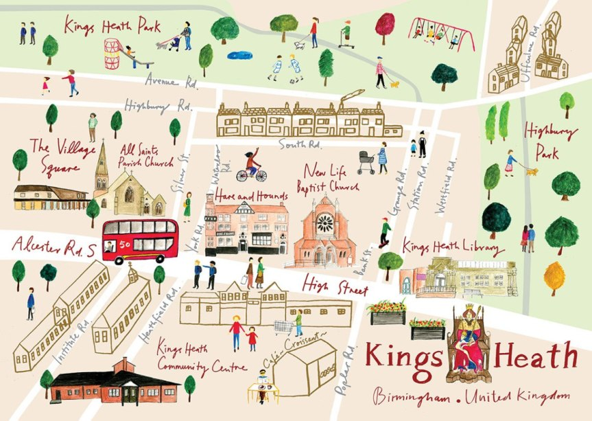 Kings Heath Map Illustration by Tsz Wan
