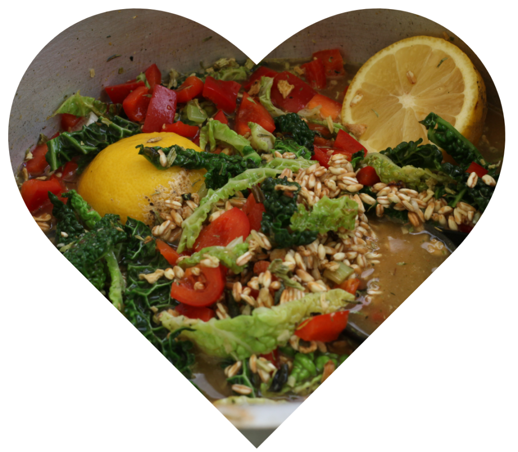Heart showing a healthy, colourful meal being cooked