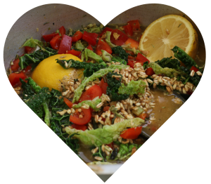 Heart shape showing healthy food cooking
