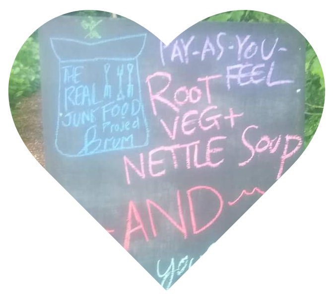 Heart showing a blackboard advertising Root Veg and Nettle Soup