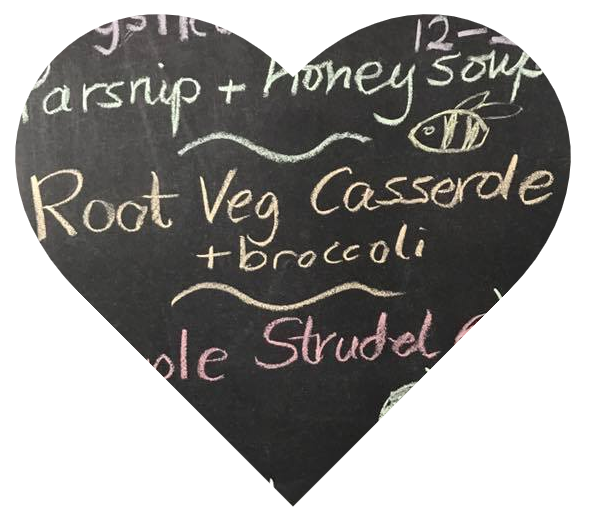 Heart showing a sample Pay As You Feel menu on a blackboard